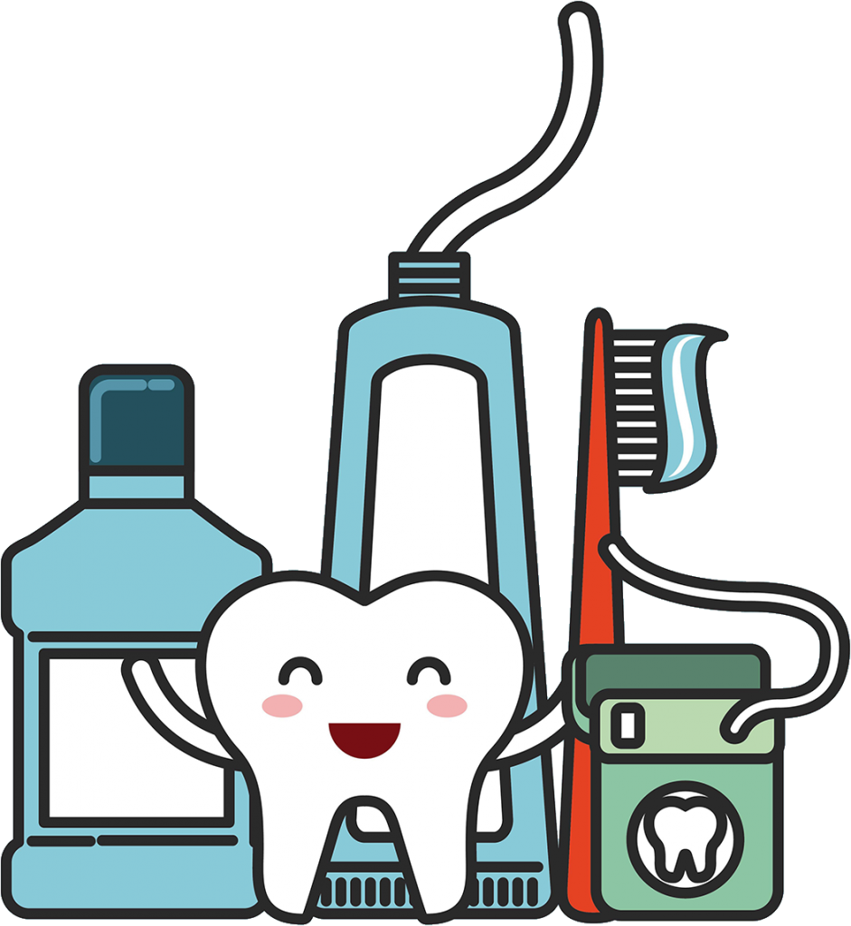 Illustration of a happy, smiling tooth with mouthwash, tooth brush, toothpaste, and floss